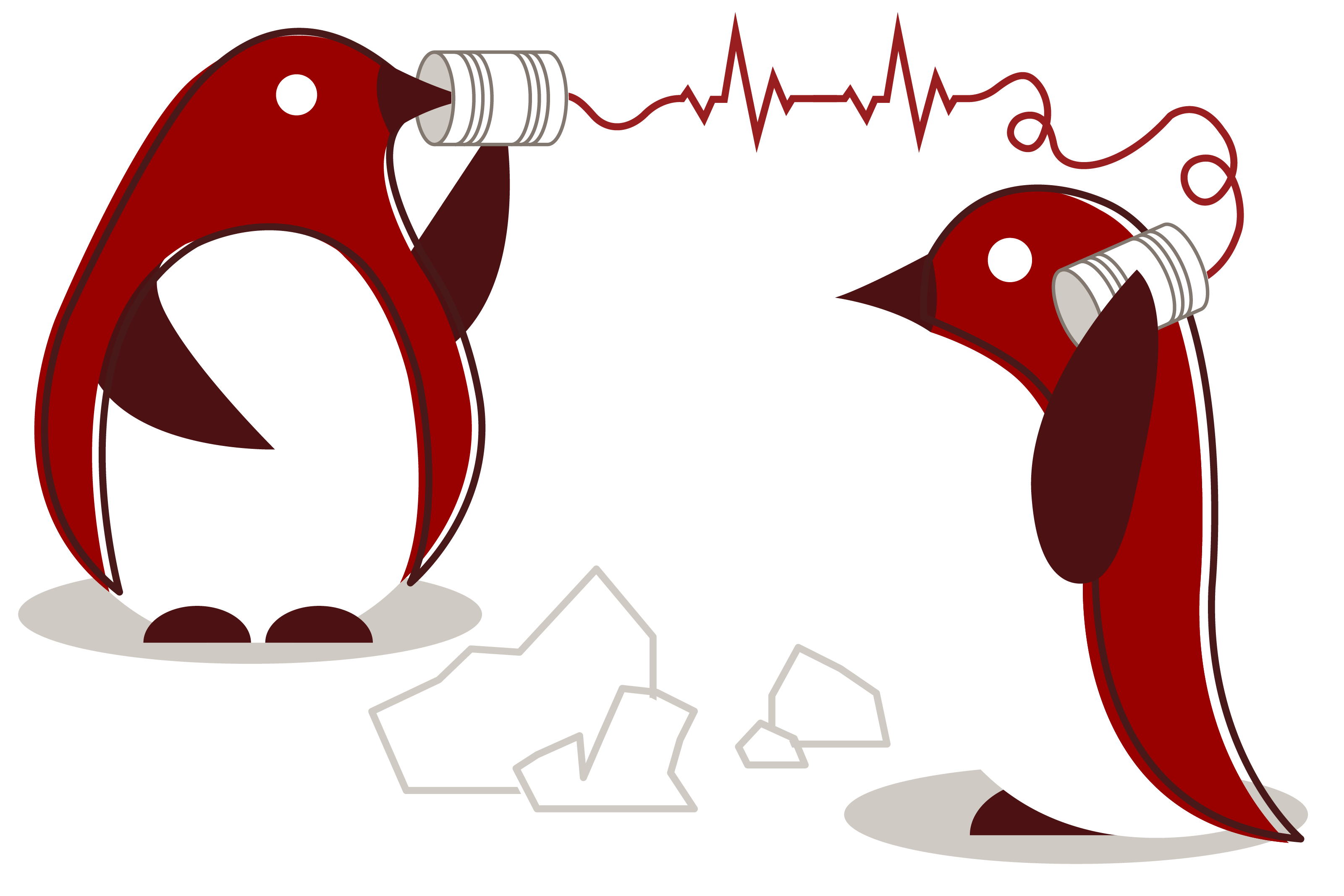 Illustration of two penguins talking on a tin can telephone
