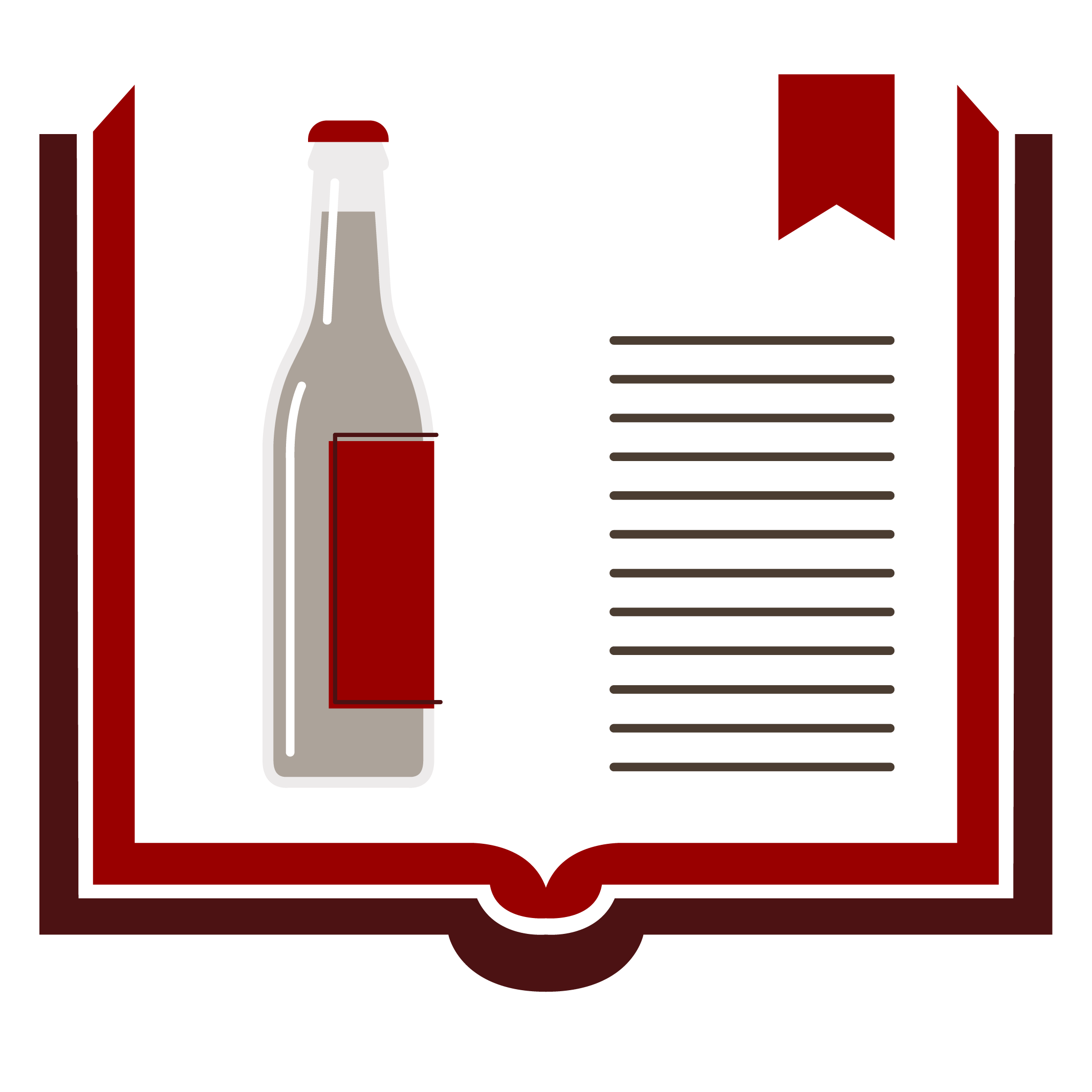 Illustration of open book with icon of alcohol bottle on page