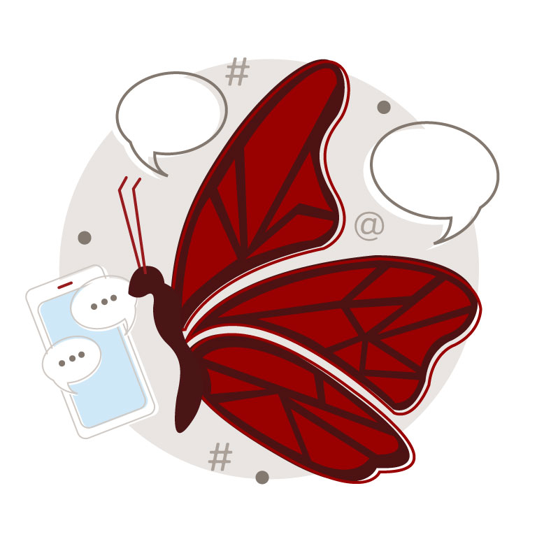 Illustration of Social Butterfly character
